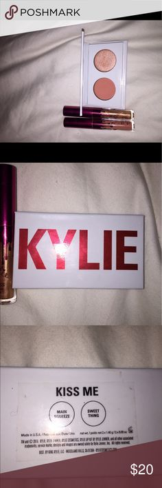 Kylie Cosmetics Kiss Me Valentines Day collection Never been worn! I have swatched the eyeshadow on my hand but neither the liquid lipsticks or the eyeshadow have ever been on my face. Comes with eyeshadow duo in Main Squeeze and Sweet Thing. Comes with mini Poppin gloss and mini Dirty Peach liquid lipstick. Love the item, not the price? Make an offer! Kylie Cosmetics Makeup Eyeshadow