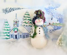 CIJ Snowman Ornament Snowman with Wreath by CharlotteStyle on Etsy Christmas In July, Holiday Tree, Christmas Snowman, Christmas Wreaths, Christmas Ornaments, Snowman Ornaments, Snowmen, Snowflake Garland, Soft Sculpture