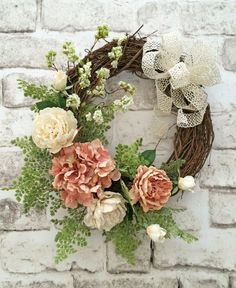 Spring Wreath Front Door Wreath Silk Floral by AdorabellaWreaths