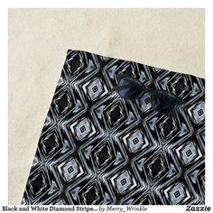 Black and White Diamond Striped Beach Towel