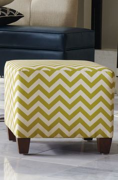 A chic chevron pattern gives our compact cube monumental presence.