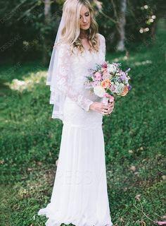Charming Sheath/Column Scoop Neck Long Sleeves Lace Wedding Dress