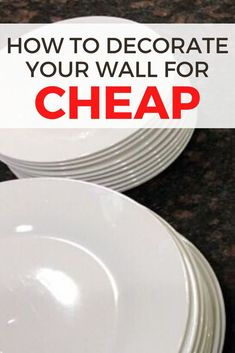 Check out this cheap and simple wall decor idea to upgrade your home decor. It's so easy to decorate on a budget with dollar store plates so check out this cheap wall decor idea. #diy #walldecor #dollarstore Cheap Wall Decor, Diy Wall Decor, Shabby Chic Painting, Plate Hangers, Budget Home Decorating, Faux Stained Glass, Diy Mirror, Boho Diy, Baskets On Wall