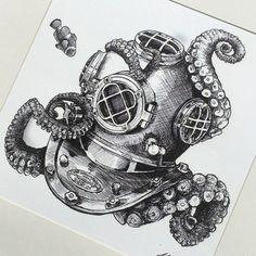Резултат с изображение за octopus and diver tattoo