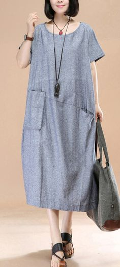 New blue Midi linen dresses Loose fitting shirt dress casual asymmetric short sleeve