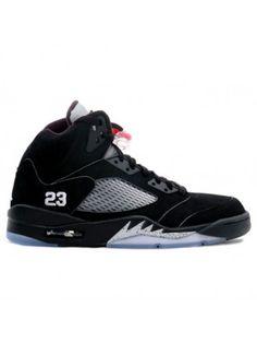 newest f7794 875d4 136027 004 Nike Air Jordan 5 V Retro Black  Metallic Silver-Fire Red Nike