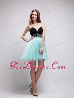 Gown Strapless Short Green Satin Black Lace Beaded Cocktail Prom Dress