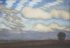 George Clausen   British, 1852-1944   Cloud Study Above Open Country