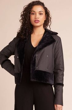 Eclipse Total Eclipse Fur Bonded Jacket - We need this jacket now tonight. The Total Eclipse vegan leather jacket features a luxe faux fur trimmed collar and details throughout. Bb Dakota Jacket, Vegan Leather Jacket, Total Eclipse, Fur Trim, Style Guides, Double Breasted, Winter Fashion, Bomber Jacket, Model