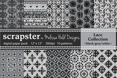 This is a collection of 12 black lace seamless patterns by Melissa Held Designs. These patterns can be used to create gift wrap, scrapbook paper, home decor, Business Brochure, Business Card Logo, Lace Patterns, Geometric Patterns, Creative Sketches, Paint Markers, Pencil Illustration, Watercolor And Ink, Scrapbook Paper