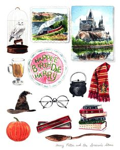 collage harry potter Harry Potter Art Print of Watercolor Painting - Wall Decor - Harry Potter Decor - Harry Potter Gift - Sorcerers Stone Book Lover Gift Harry Potter Scarf, Harry Potter Decor, Harry Potter Gifts, Harry Potter Fan Art, Harry Potter Fandom, Harry Potter Illustrations, Harry Potter Drawings, Harry Potter Planner, Harry Potter Painting