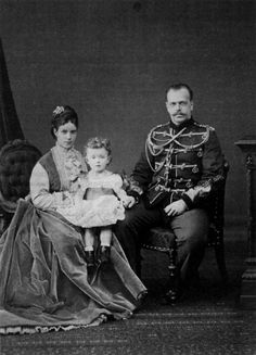 Future Nikolay II with his mother Dagmar and father, Alexander III in 1870 ~