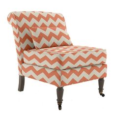 Coral chevron armless slipper chair - how cute would this be in a nursery? Ottoman Sofa, Armless Chair, Coral Color Decor, Old Wood Floors, Coral Chevron, Traditional Chairs, Take A Seat, Coastal Decor, Lumbar Pillow