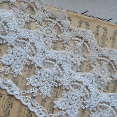 3.5 Wide White Mesh Lace Trim Floral Embroidery by HappyLaceCraft, $3.09