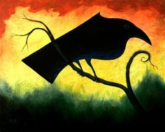 Crow on a Branch  original acrylic landscape by ArtistDavidKing