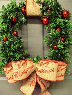 Christmas Wreath, Holiday Wreath, Boxwood Wreath, Square Christmas Wreath, Burlap Wreath, Christmas Decor on Etsy, $105.95