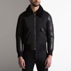 LEATHER & NYLON JACKET WITH SHEARLING COLLAR - BLACK LAMB Jackets Lamb, Ready To Wear, Menswear, Man Shop, Mens Fashion, Stylish, Leather, Jackets, How To Wear