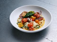 Get Stuffed Calamari with Snapper and Fregola in a Burst Cherry Tomato Sauce Recipe from Food Network