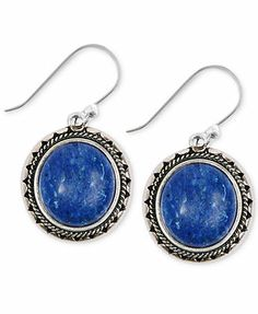 Lucky Brand Silver-Tone Lapis Drop Earrings