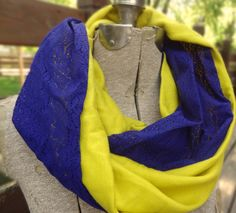 Yellow and blue vintage lace infinity scarf by PaleDesign on Etsy, $29.00