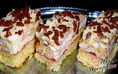 "Nebeská maňa - to je jeden z tých zákuskov čo sme mali na akcii ""Guláš "". Czech Recipes, Russian Recipes, Ethnic Recipes, No Bake Cake, Sweet Recipes, Sushi, French Toast, Sandwiches, Food And Drink"