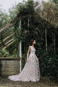 A-Line Wedding Dress with Pink Floral Appliques