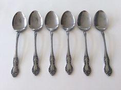 Easterling Valhalla Flatware Soup Spoons Stainless Steel Silverware Set Of 6 #Easterling