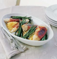 Grilled prosciutto-wrapped chicken with sage and grilled green beans
