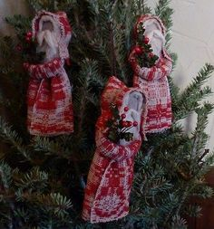 Three Primitive Old Red Coverlet Belsnickle Santa Claus Tree Ornament
