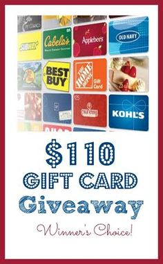 Enter for a chance to win a $110 gift card to the store of your choice. Ends February 21, 2014. Good luck!