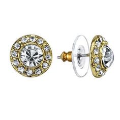 Vintage Estate Petite Gold Tone Round White Crystal Stud Earrings
