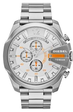 "Free shipping and returns on DIESEL® 'Advanced' Chronograph Bracelet Watch, 51mm at Nordstrom.com. A raised crown protector, orange accents and a svelte chronograph dial distinguish an oversized bracelet watch marked with ""only the brave."""