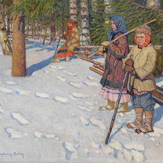 NIKOLAI BOGDANOV-BELSKY, Children in a Wintry Forest