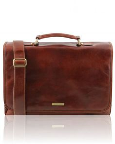 MANTOVA TL141450 Leather multi compartment TL SMART briefcase with flap