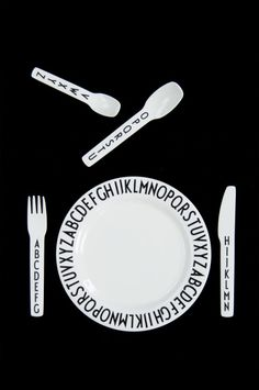modern range danish letters designer alphabet cutlery set | Nubie - Modern Baby Boutique