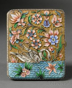 Russian Gold-washed Silver and Enamel Cigarette Case, 1886-1908, maker's mark B.A., rectangular, with cloisonne enamel scene to both sides of a swan swimming on a flower-strewn lake, with lush flowering plants above, in white beaded surround.