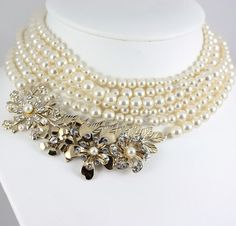 Six Stranded Eliana Bridal Necklace in Gold and Swarovski Rhinestone and Pearl