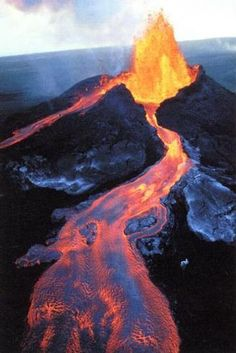 Lava flowing from an erupting volcano