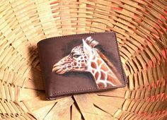 Hand Painted Giraffe On Men's Leather Wallet