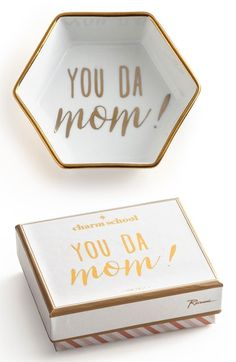 """How cute is this Mother's Day gift? """"You 'da Mom"""" clever catchphrase adds plenty of personality to a gold-trimmed hexagonal trinket tray. Perfect for stashing jewelry, keys or special sentimental trinkets."""