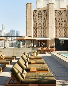 Completed in 2014 in Los Angeles, United States. Images by Spencer Lowell. Ace Hotel Downtown Los Angeles opens in the historic United Artists building in Downtown LA. Built in 1927 for the maverick film studio, the ornate,. Hotel Rooftop Bar, Best Rooftop Bars, Hotel Restaurant, Hotel Pool, Rooftop Lounge, Rooftop Terrace, Downtown Los Angeles, Ace Hotel Los Angeles, Hotel California