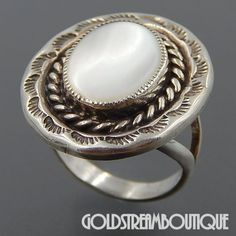 Vintage 925 Navajo Sterling Silver White Mother of Pearl Rope Stamped Oval Ring - Size 9.5