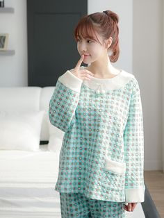 Banibella winter sleepwear / Chess Bear quilted sleepwear / cozy and comfortable / winter pajamas