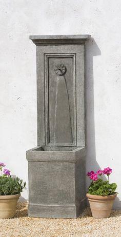 Campania - Auberge Fountain - cast stone, high density concrete; shown in alpine stone. 460 lbs.