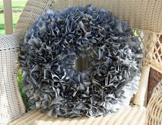 Homemade, plastic tablecloth wreath! -finished wreath.  This is gorgeous for Halloween!