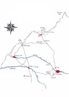 La mappa dell'angolo immaginario d'Inghilterrra dove si svolge Roderick Duddle, disegnata da Michele Mari. Nel link, un'intervista sul sito Einaudi.