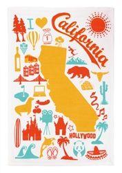 I Love California State Kitchen Towel Orange Aqua Yellow Bright Icons $9.99