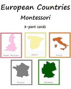 Montessori Five European Countries 3-part Cards Printables