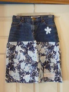 Hawaiian denim skirt