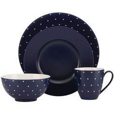kate spade new york Larabee Dot 4-Piece Place Setting - Bloomingdale's... ($70) ❤ liked on Polyvore featuring home, kitchen & dining and kate spade